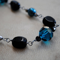 Peacock Blue and Black Beaded Necklace Teal Silver Jewelry