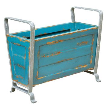 Carmelo Distressed Turquoise Wooden Decorative Container by Uttermost