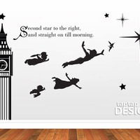 Peter Pan Wall Mural Second Star to the Right by taptapdesigns