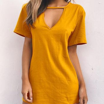 Casual Yellow Cut Out Plunging Neckline Plus Size Casual Mini Dress