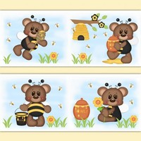 Teddy Bear Bee Nursery Girl Wallpaper Border Wall Art Decals [1021] - $12.99 : DeCamp Studios, The best selection of nursery wall murals, childrens wallpaper border, teen girl or boy wall art decals, baby premade scrapbook pages, and digital printable clip