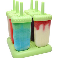 #1 Best Premium Dishwasher Safe NO BPA Popsicle Molds include Drip Guard Protection that are Simple, Quick with Standing Tray Tupperware Quality 6-piece Repeat Use Plastic Ice Pop Mold Set