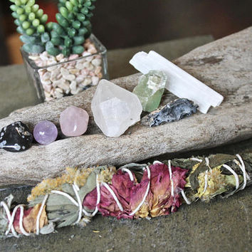 Sage and Healing Stone Kit, Rose, Wildflower & Sage Bundle, Wiccan Altar Supplies, Amethyst, Quartz Point, Crystal Healing Wicca Stone Set