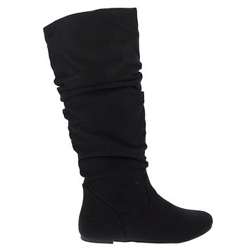 Zuluu Black By Soda, Mid Calf Round Toe Slouchy Pull On Flat Boots