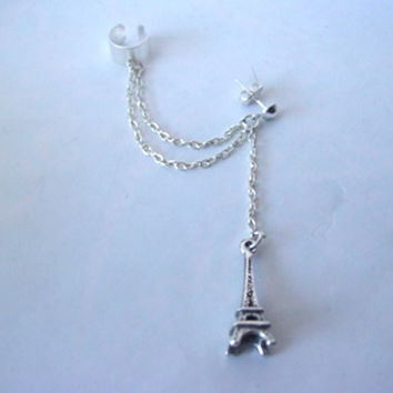 Silver Eiffel Tower Double Chain Ear Cuff