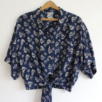 Vintage 80s Navy Blue Coral Print Silk Blouse // Cropped Tie Up Top