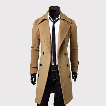 Winter Long Trench Coat Men Classical Style Overcoat Slim Fit Double Breasted Overcoats Men Clothes