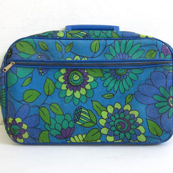 20% OFF SALE vintage 1960s mod small floral travel suitcase / blue and green fabric tote