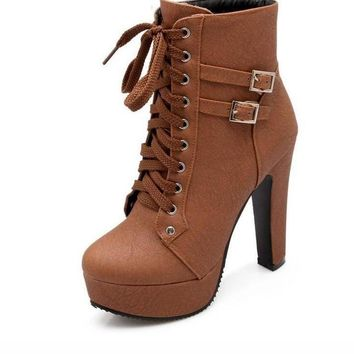 Women Ankle Boots Female High Heels Lace Up Leather Shoes Woman Double Buckle Platform Fashion Shoes