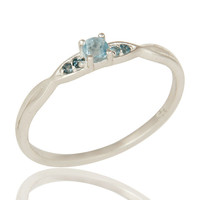 925 Sterling Silver Natural Blue TOpaz Gemstone Cluster Ring Jewelry