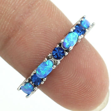 2016 New Style Unusual Blue Fire Opal Crystal Fashion Jewelry Women Rings Free Shipping Sz 5 6 7 8 9 10 OR822 Free Gift Box