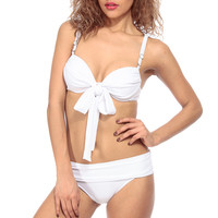 White Draped Two Piece Swimsuit