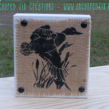 Duck Burlap Block - Rustic Block - Block Decor - Country Home Decor - Hunting Decor - Rustic Decor