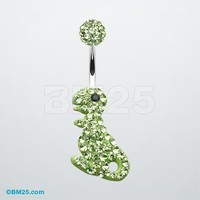 Charming Dinosaur Tiffany Inspired Dangle Belly Button Ring