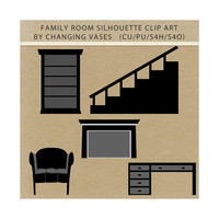 Black Silhouettes Family Room Clipart Clip Art Graphics, Family Room, Chair, Desk, Fireplace, Stairs, Bookcase, Scrapbook Elements