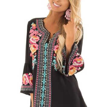 Obsidian Tunic with Multicolor Embroidery and Bell Sleeves
