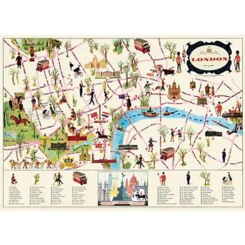 Cavallini London Map 4 Wrapping Paper