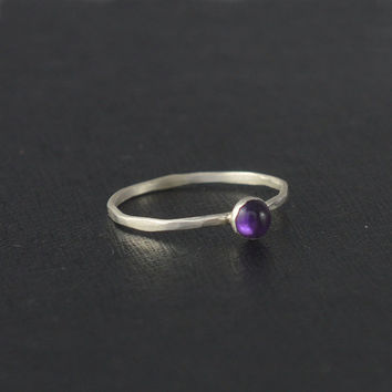Sterling Silver Stack Ring,purple Amethyst ring,Stacking Ring,hammered band ring