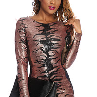 Copper Black Sequins Netted Sexy Club Wear Dress