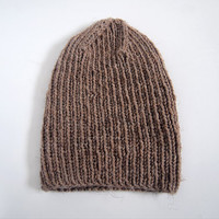 unisex hand knit wool blend hat -- the torse beanie in mushroom