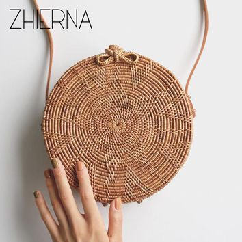 ZHIERNA Chic Style Women Bags for Summer Straw Circle Clutch Genuine Leather Strap Rattan Handbags Handmade Flower Beach Bags