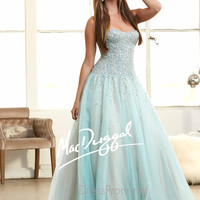 Strapless Sequined Bodice Prom Ball Gown By Mac Duggal 62103H