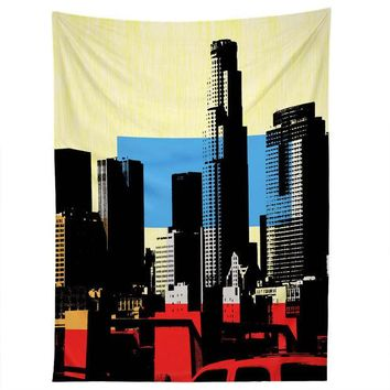Los Angeles skyline contemporary wall tapestry