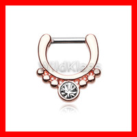Rose Gold Septum Clicker Ring Horseshoe Gem Grandiose Ring Cartilage Earrings Nipple Ring Circular Barbell Tragus Jewelry Helix Conch