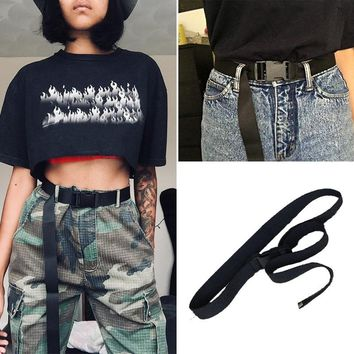 Fashion Black Canvas Belt for Women Casual Waist Belts with Plastic Buckle Solid Color Long Belts