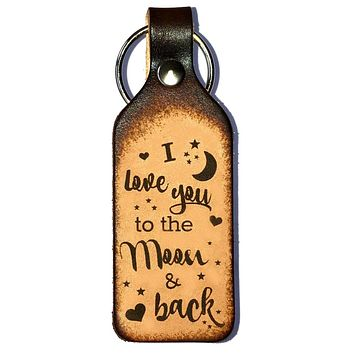 I Love You to the Moon & Back Leather Keychain