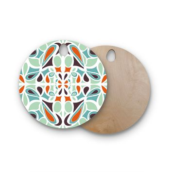 "Miranda Mol ""Orange Purple Stained Glass"" Round Wooden Cutting Board"