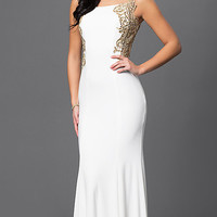 Long Bateau Neck Open Back Dress 1791 by Dave and Johnny