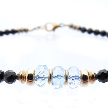 14K GF Aquamarine March Birthstone Beaded Bracelets, Minimalist Tourmaline Gemstone Bracelet