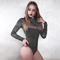 T-shirts Summer Hot Sale Women's Fashion Sexy Silver Print Slim Long Sleeve Tops One-piece [191895928847]