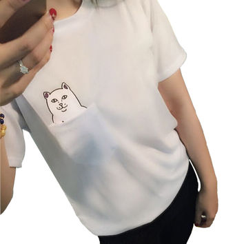 2017 Summer Pocket Cat T-shirt Women Casual Lady Top Tees Cotton Tshirt Female Clothing T-Shirt with a Cat Print Top Cute S-4XL