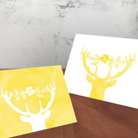 Printable Mother's Day Spring Greeting Cards - Deer silhouette with floral antler adornnment - Yellow and White - Both Cards Included