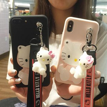3D cute Cartoon Mirror Hello Kitty Soft Cases stander Strap for Samsung Galaxy A3 A5 A7 2016 J1 J2 J3 J5 J7 S7 S6 Edge Lanyard