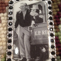 Walt Disney With Mickey Mouse Silver With Black Rhinestones Dog Tag Necklace