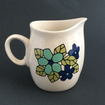FRANCISCAN Vintage 1960s CANTATA Creamer Cup Dish Retro Blue Green Flowers USA