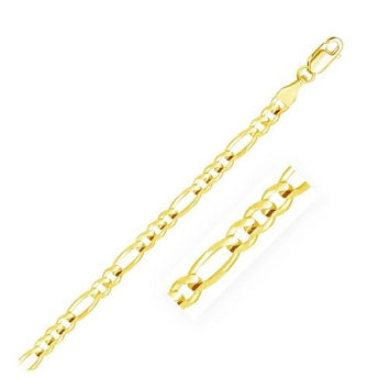 4.5mm 14K Yellow Gold Solid Figaro Chain