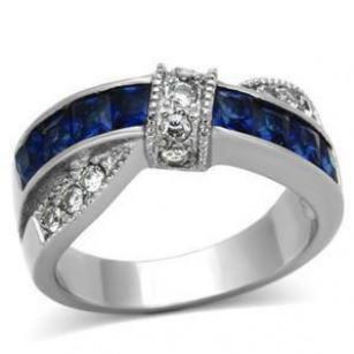 Blue Ribbon - Cross over style blue glass white cubic zirconia stainless steel ring