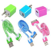 6pcs/Lot! 3PCS USB Data Cable Cord 3PCS Power Adapter ChargerIphone 4/4s/5