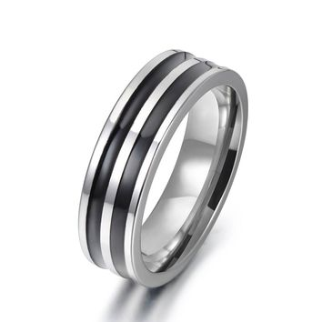 JeeMango Trendy Jewelry Ring Simple Design Hoop Titanium Stainless Steel Anniversary Rings For Women Men Anillos Mujer R17148