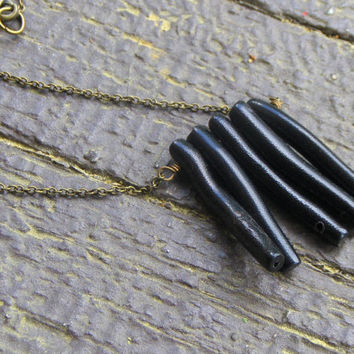 THE DARK REEF. Black coral fringe Handmade Boho Noir necklace