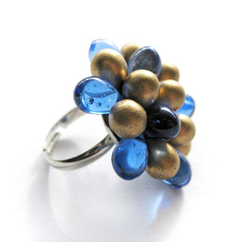 Frosted Golden and Indigo Berry ring - Limited Edition
