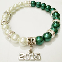 2015 College Graduation Gift / Graduation Jewelry Green and White / Graduation Gift / High School Grad / Class of 2015 / Graduation Bracelet