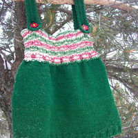 Hand Knitted Toddler Girl Smocked Bodice Strap Style Cotton Dress Red Green & Cream Flower Nature Inspired 2T 3T 24 month 36 month