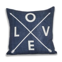 Love Arrow Pillow - Blue Denim