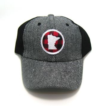 Minnesota  Herringbone Trucker Hat - Red Buffalo Check Patch