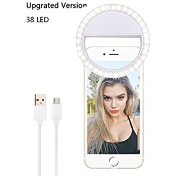 LST Selfie Light Rechargeable [38 LED] Dimmable Clip Ring Lights Fill-in Lighting Portable for iPhone, Tablet, iPad, Laptop, Camera (White)